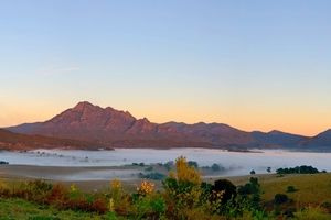 Early morning overlooking Mt Barney and Mt Maroon in SE QLD